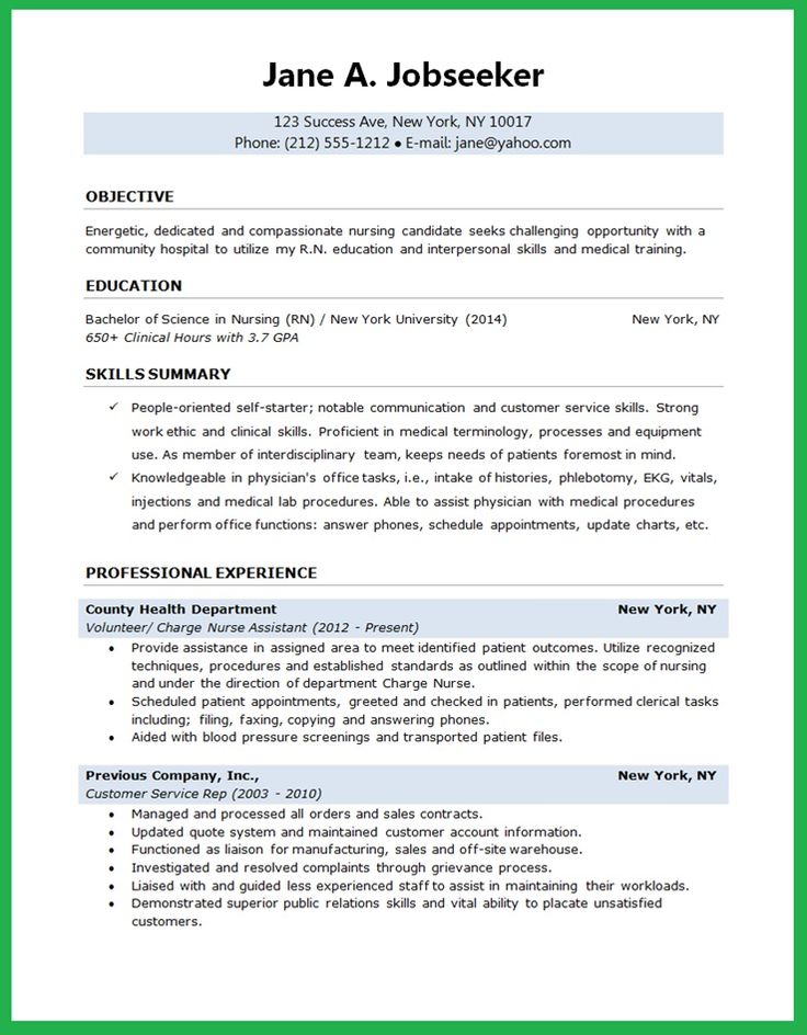 examples of resume objectives for nurses