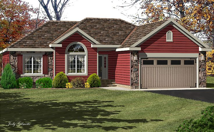 Single Ranch House Red Siding | Red Houses With Siding | Ranch