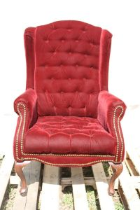 red upholstered wing back chair | Gothic Drama | Pinterest ...