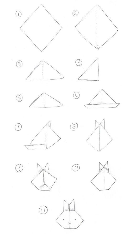 origami polar bear face folding instructions with 5 step diagram