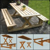 Best 25+ Picnic table plans ideas on Pinterest