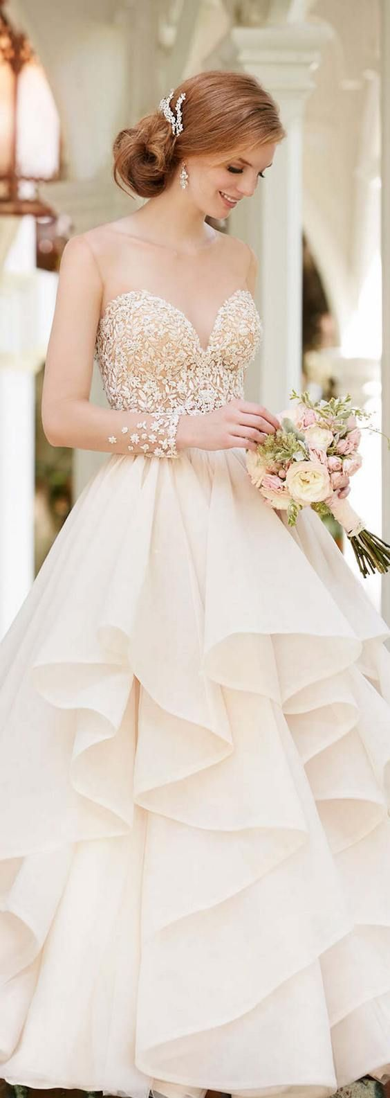 the dress collection ruffle wedding dress 40 Sweetheart Wedding Dresses That Will Take Your Breath Away