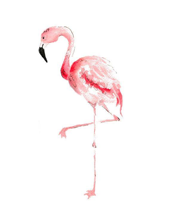 Pink Flamingo Watercolor Painting Print, Flamingo Wall Art
