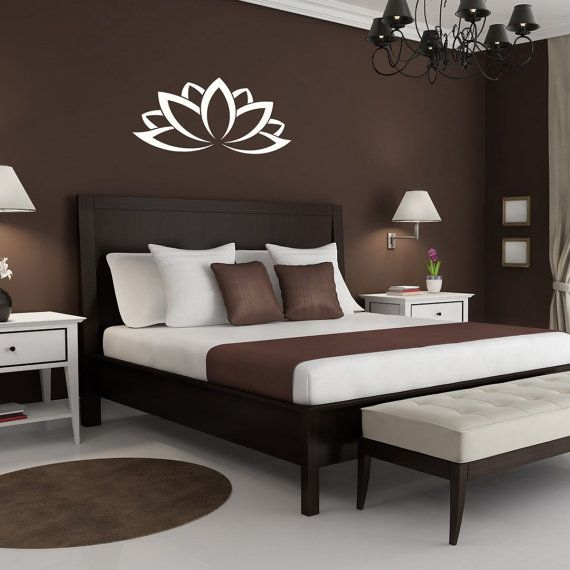 Graues Bett Welche Wandfarbe Wall Vinyl Decal Lotus Flower Art Design Murals Interior