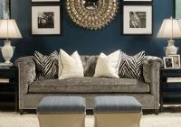 Navy living room with gray sofa I like this with pops of ...