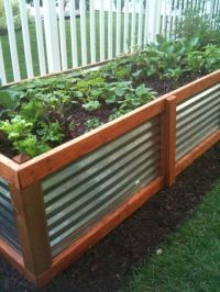 corrugated metal and wood raised garden bed. | Raised Beds ...