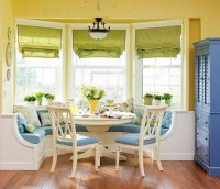Bay window inspiration. Built in bench + table & chairs ...