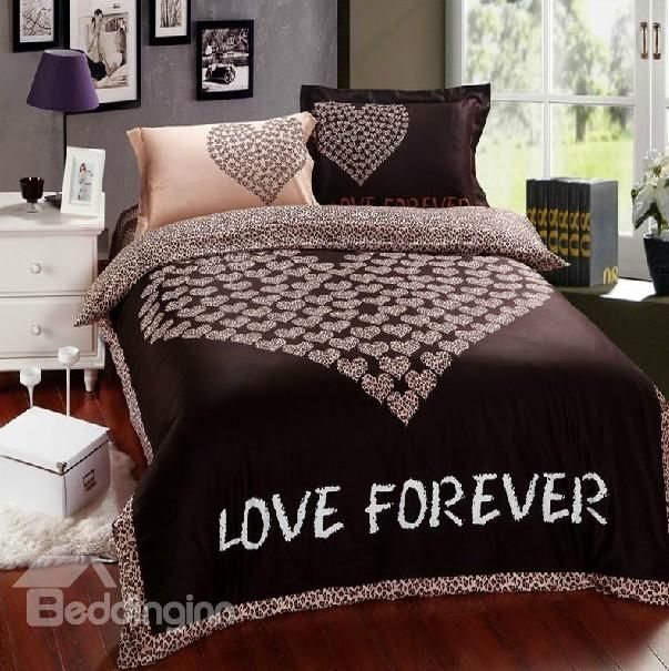 8579 100 Cotton Love Heart Print Brown Bedding Sets 4