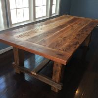 Farm-style dining table, hand-made from reclaimed barn ...