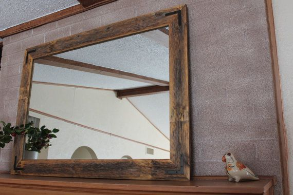 Wood Framed Bathroom Vanity Mirrors Rustic Wall Mirror - Large Wall Mirror - 42 X 30 Vanity