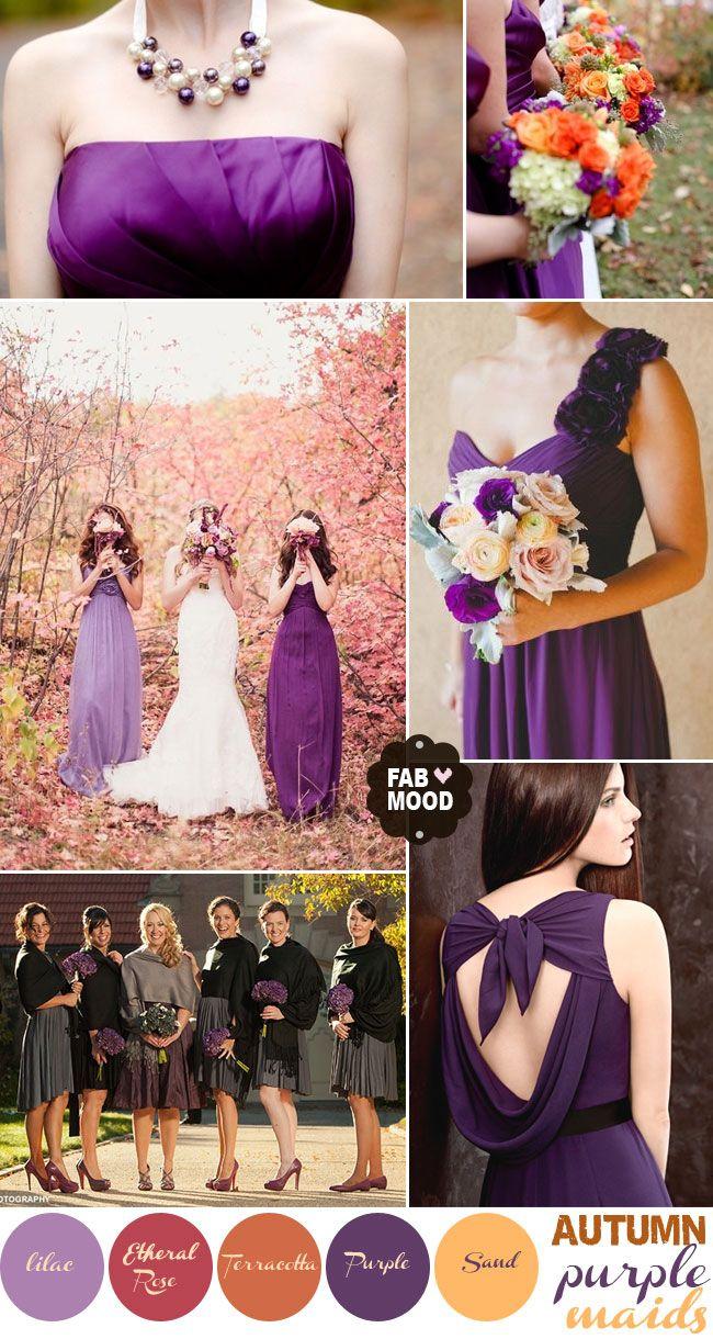 wedding purple and gold wedding Autumn Wedding Bridesmaids