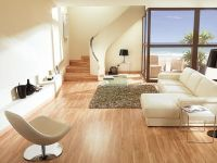 Living Room with Laminate Floor Parquet Bamboo Color ...