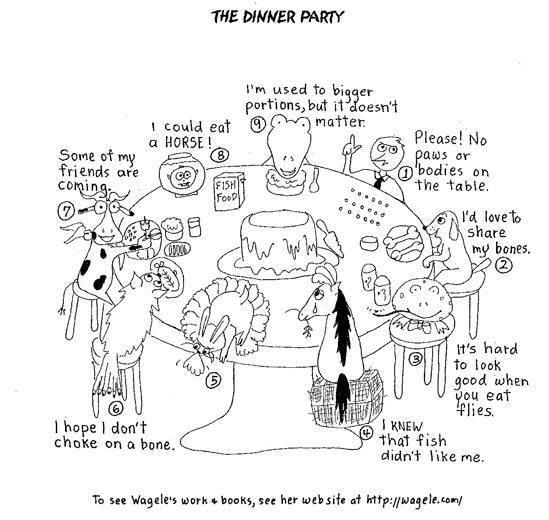 enneagram animal dinner party cartoon