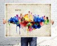SEATTLE - Art print - poster - Skyline - watercolor wall ...