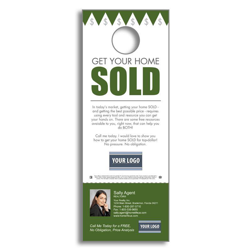 Real Estate FSBOs - Get Your Home Sold - Door Hanger Agent - retail and consumer door hanger template