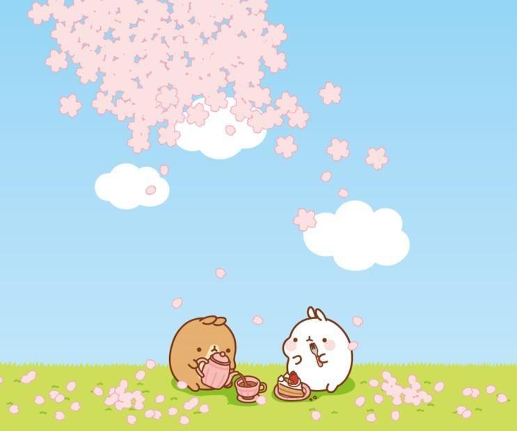 Cute Tofu Desktop Wallpaper Molang Enjoying A Lovely Spring Day Molang Kawaii