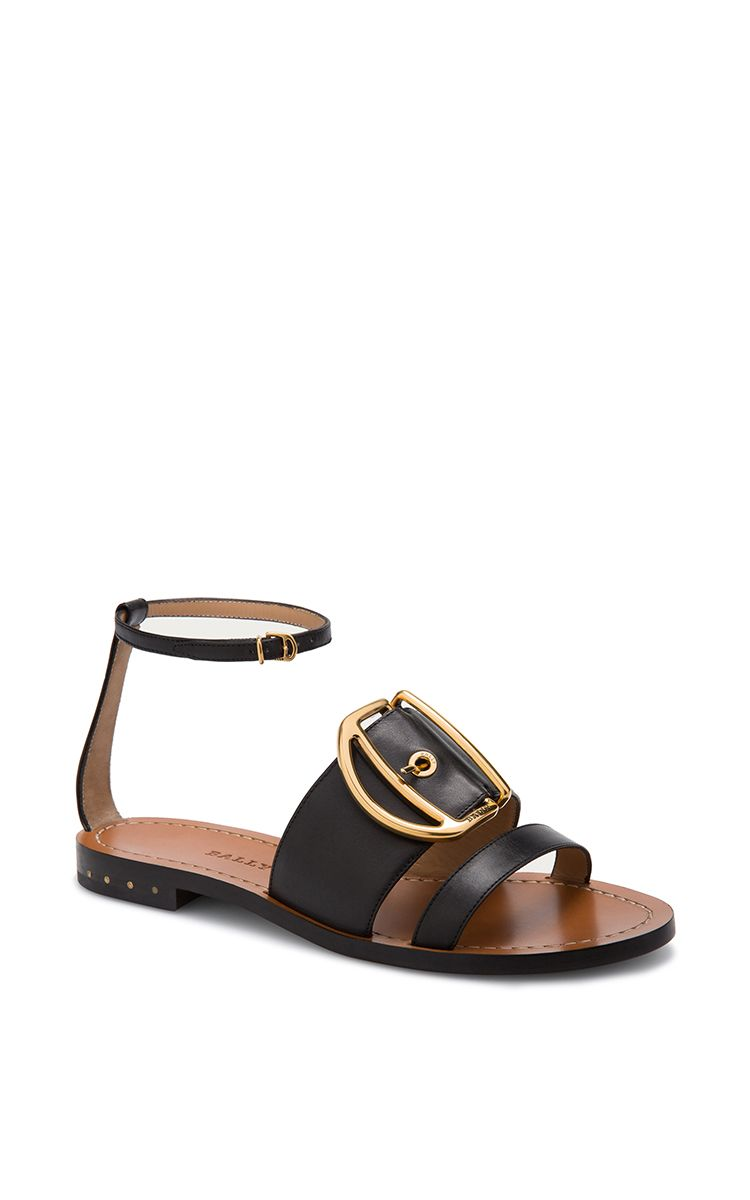 Leather sandal in black bally resort 2016 preorder now on moda operandi