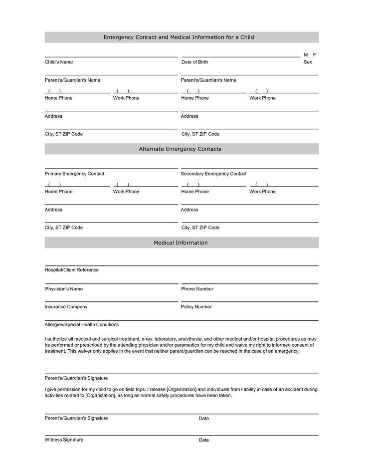 Student information sheet emergency prepare RAIN Pinterest - free child travel consent form template