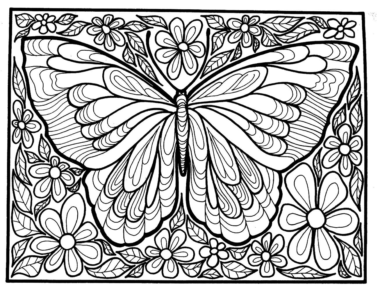 To print this free coloring page coloring adult difficult big butterfly