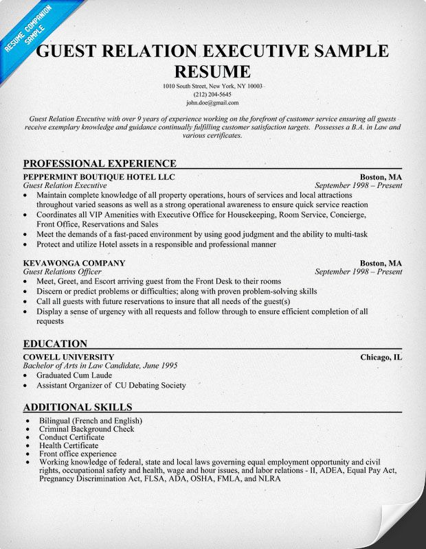 guest relation executive resume sample