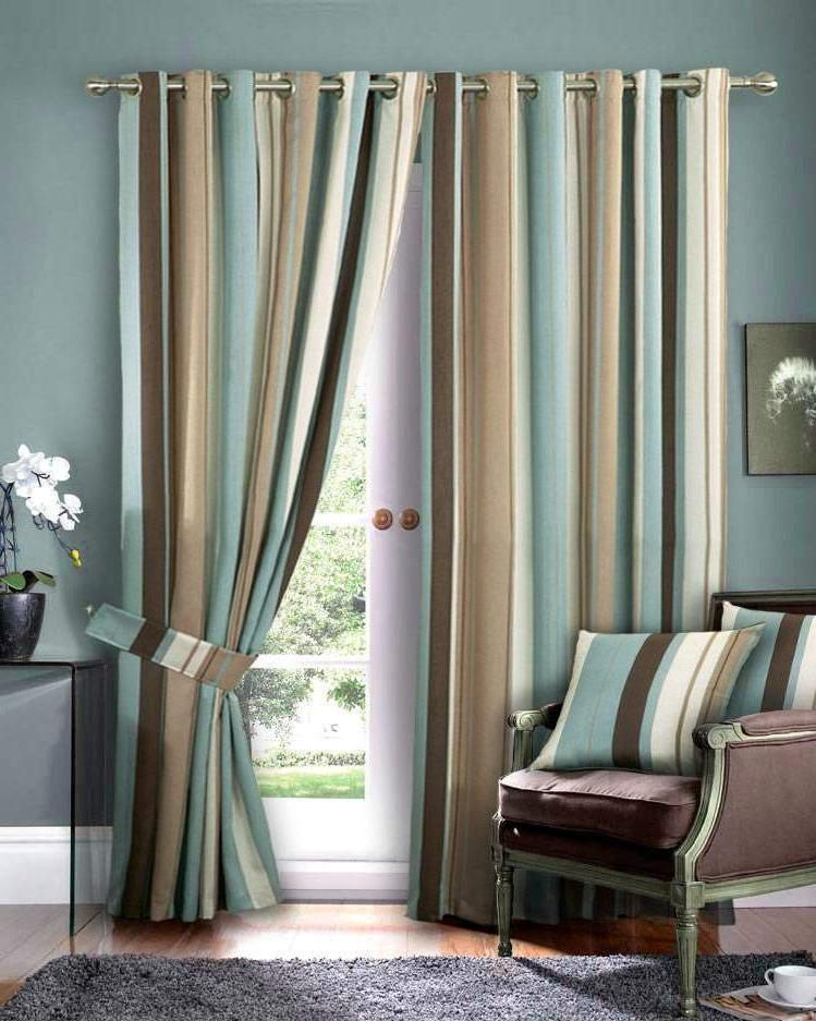 Beautiful Blue And Brown Curtains Curtain Pinterest Striped - turquoise curtains for living room