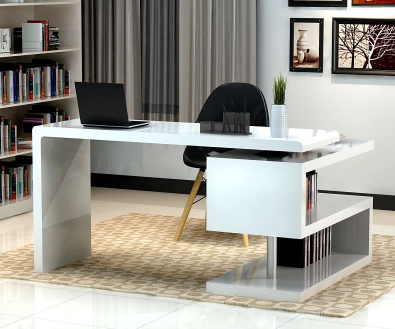Stunning modern home office desks with unique white glossy desk - modern home office design