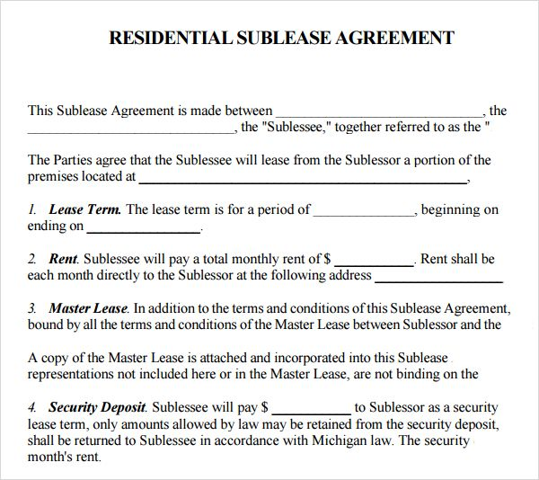 Printable Sample Sublease Agreement Template Form Real Estate - sublease agreement
