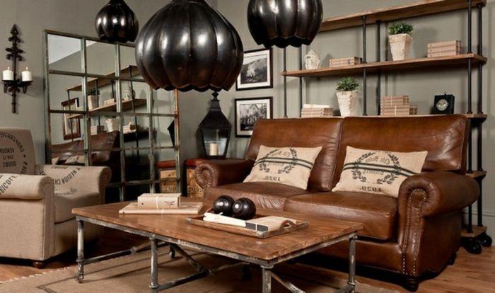 6industrial möbel wohnzimmer ledercouch braun tisch massivholz ... - Chaiselongue Design Moon Lina Moebel