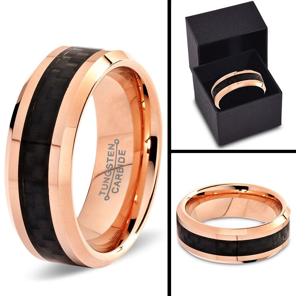 gold tungsten wedding bands Tungsten Wedding Band Ring 8mm for Men Women Comfort Fit 18K Rose Gold Plated Black Carbon