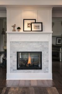 Marble subway tile white trim fireplace Interior Design ...