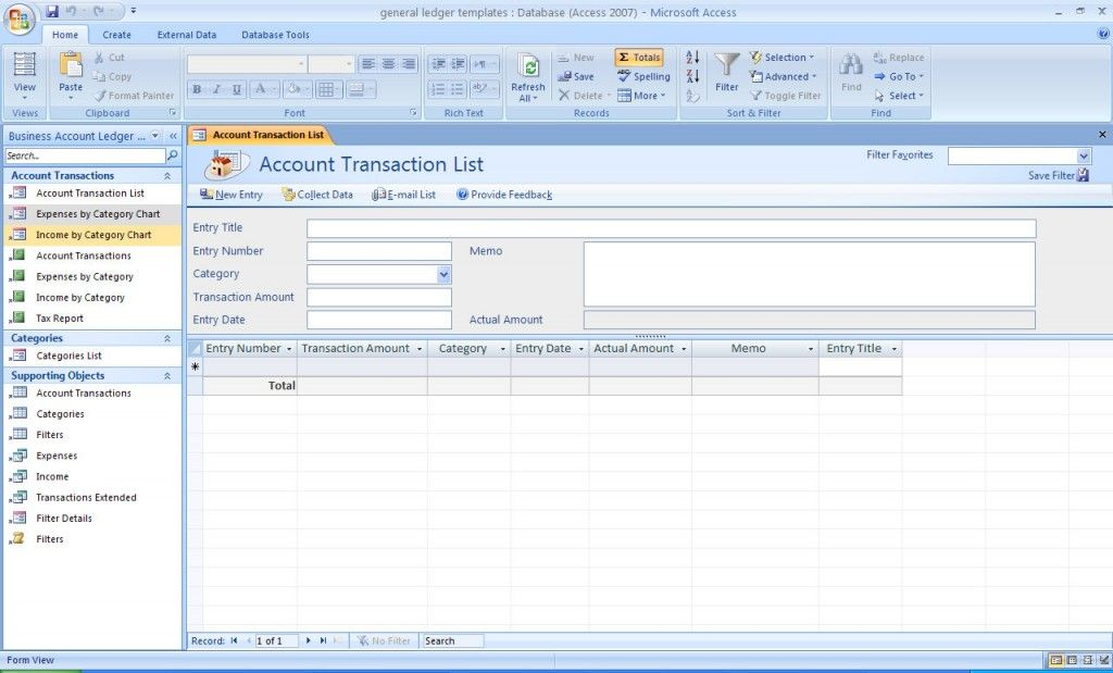 General Ledger Accounting Access Database Template Helpful - ledger accounts template