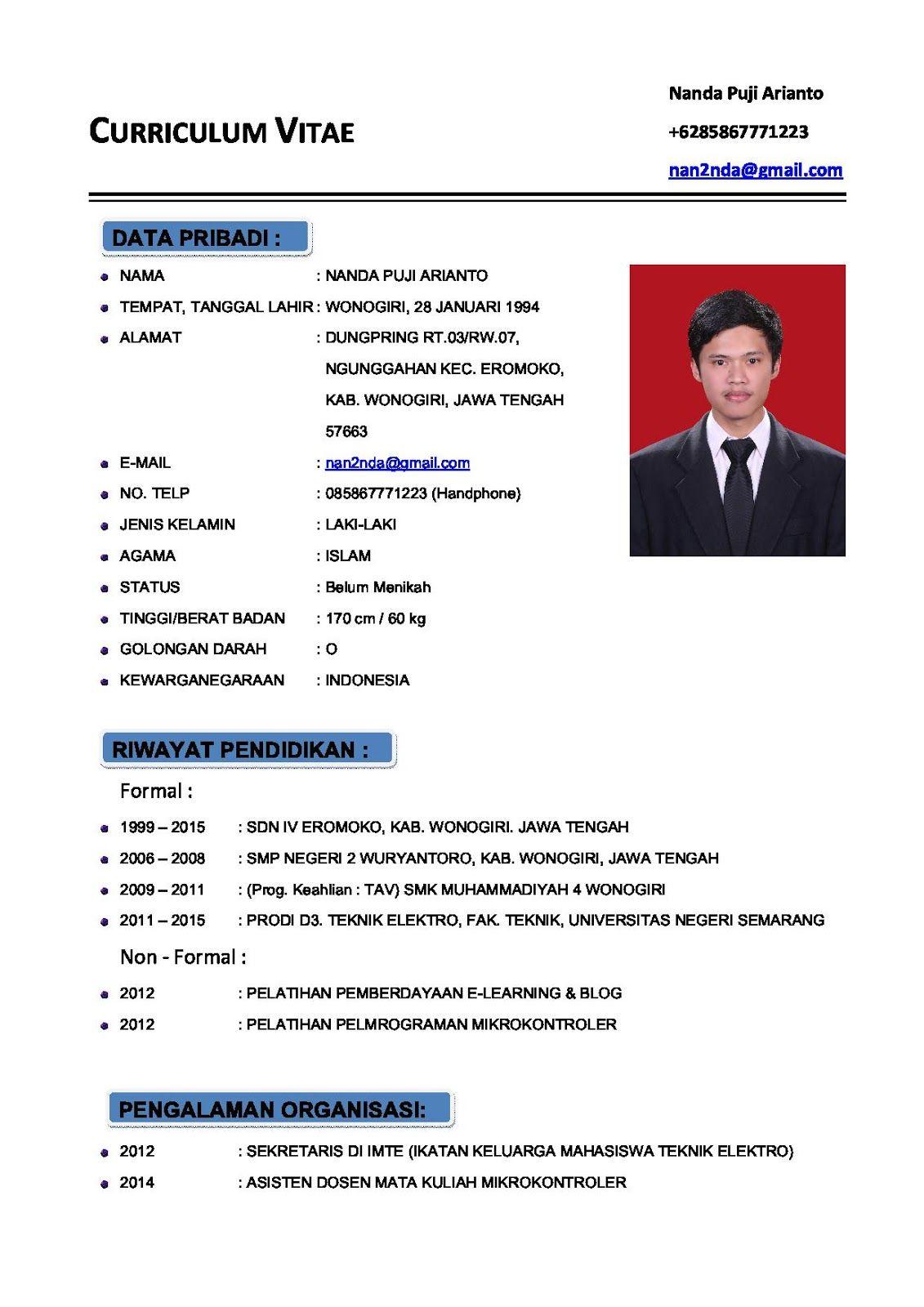 Format Curriculum Vitae Indonesia Download Curriculum Vitae Cv Bahasa Indonesia Dan Bahasa Contoh Cv Curriculum Vitae Atau Daftar Riwayat Hidup