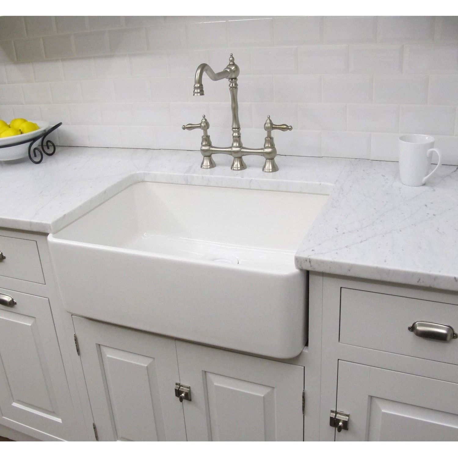 White Kitchen Sink Constructed Of Fireclay This Large Bathroom Sink Has A
