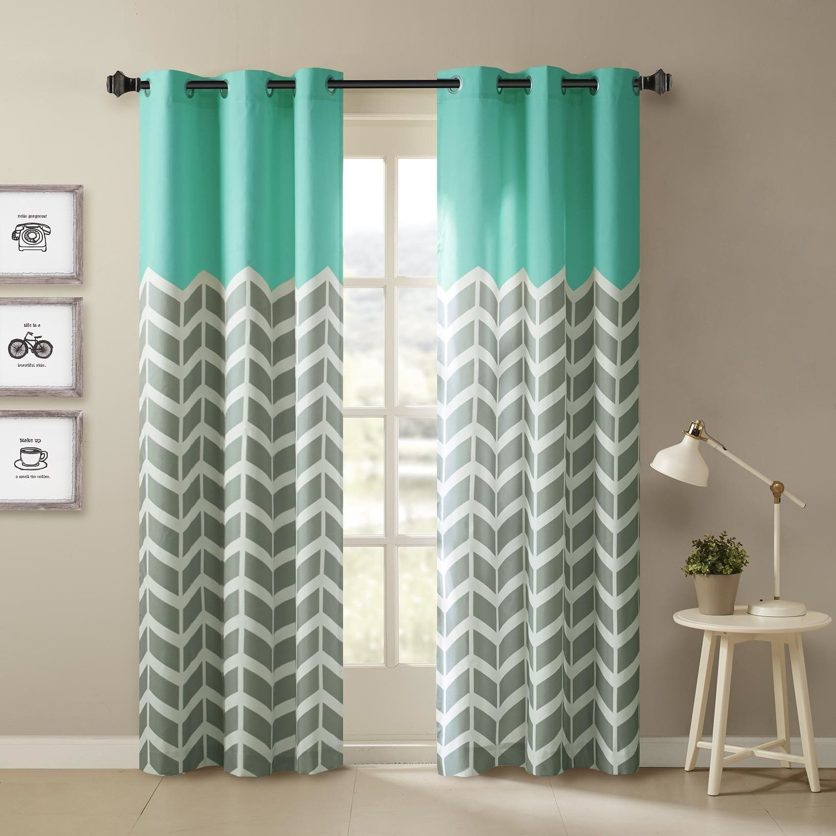 Intelligent design rayna chevron printed grommet top curtain panel pair by id intelligent designs