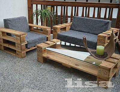 Lounge Gartenmöbel 2-Sitzer Palettenmöbel, Terrasse vintage Design - lounge sessel designs holz ausenbereich
