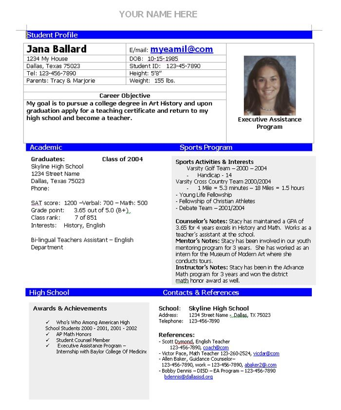 template for student athlete resume for college