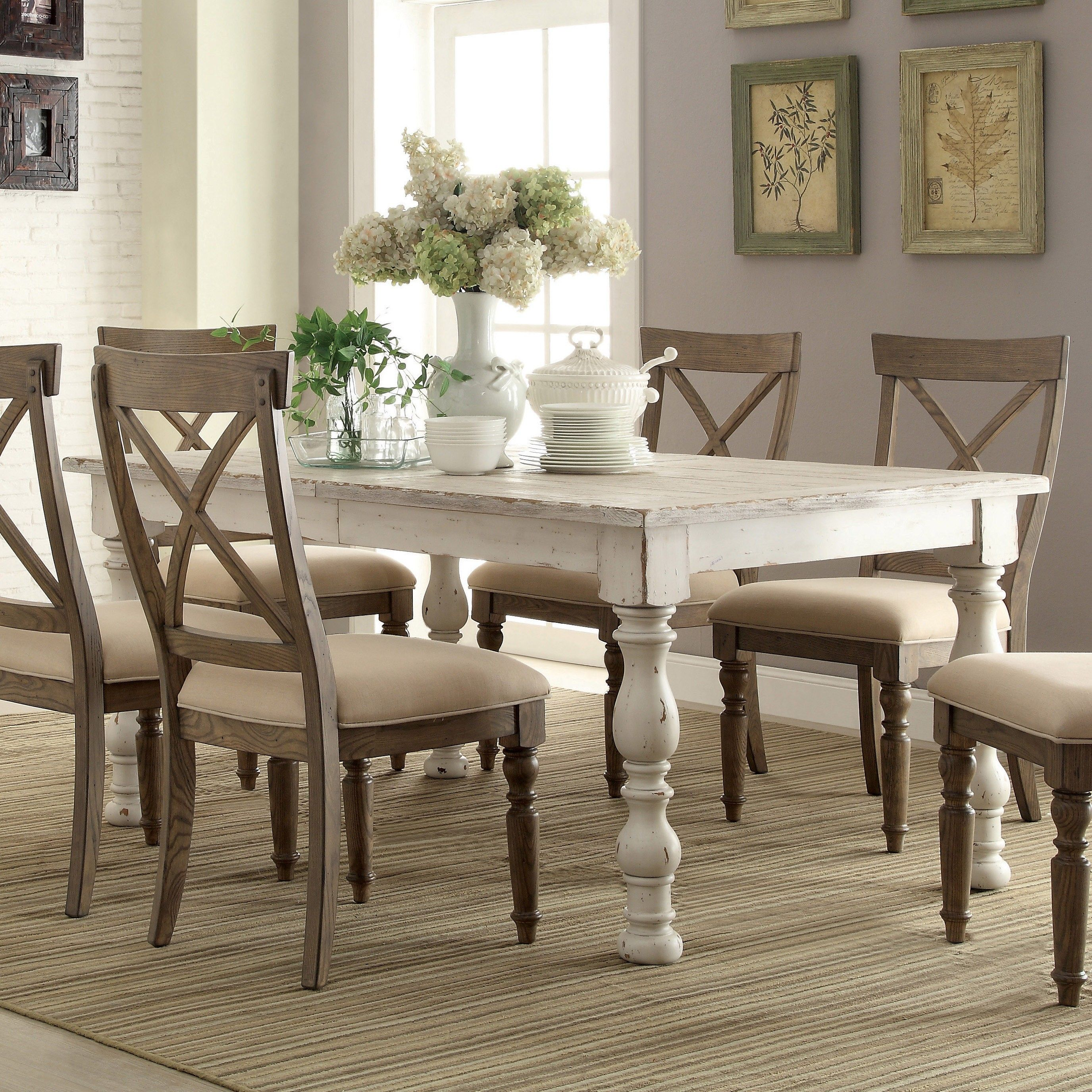 White Dining Table Set Aberdeen Wood Rectangular Dining Table And Chairs In