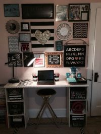 Teen bedroom gallery wall above desk. Black, white and ...