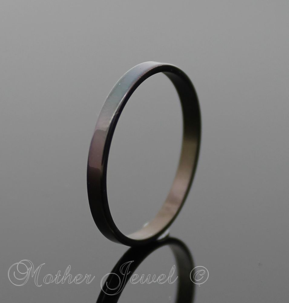 stainless steel wedding bands Black stainless steel ladies mens boys 2mm thin wedding anniversary band ring