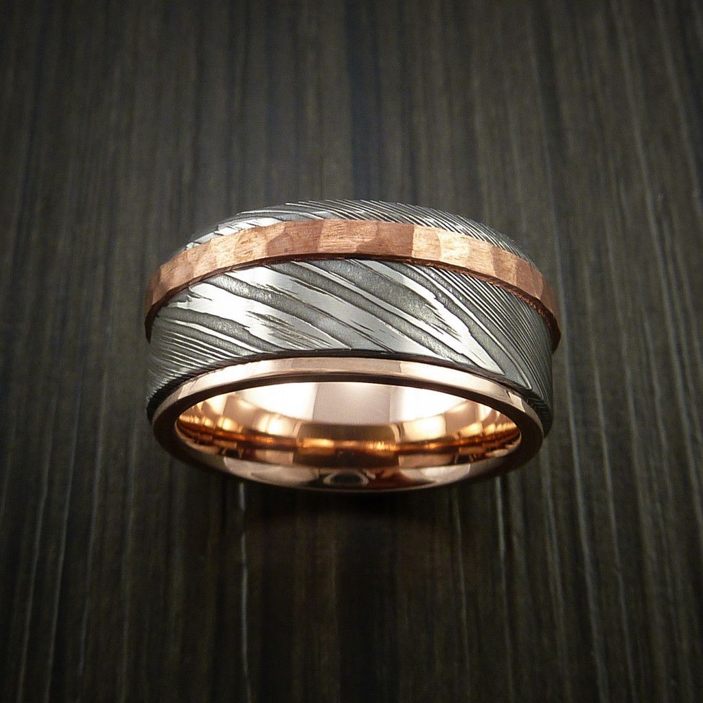 damascus wedding band Damascus Steel 14K Rose Gold Ring Wedding Band with Hammered Copper Inlay Revolution Jewelry