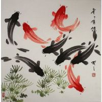 Large Koi Fish Painting - Chinese Character & Japanese ...