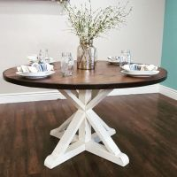 stunning handmade rustic round farmhouse table by ...
