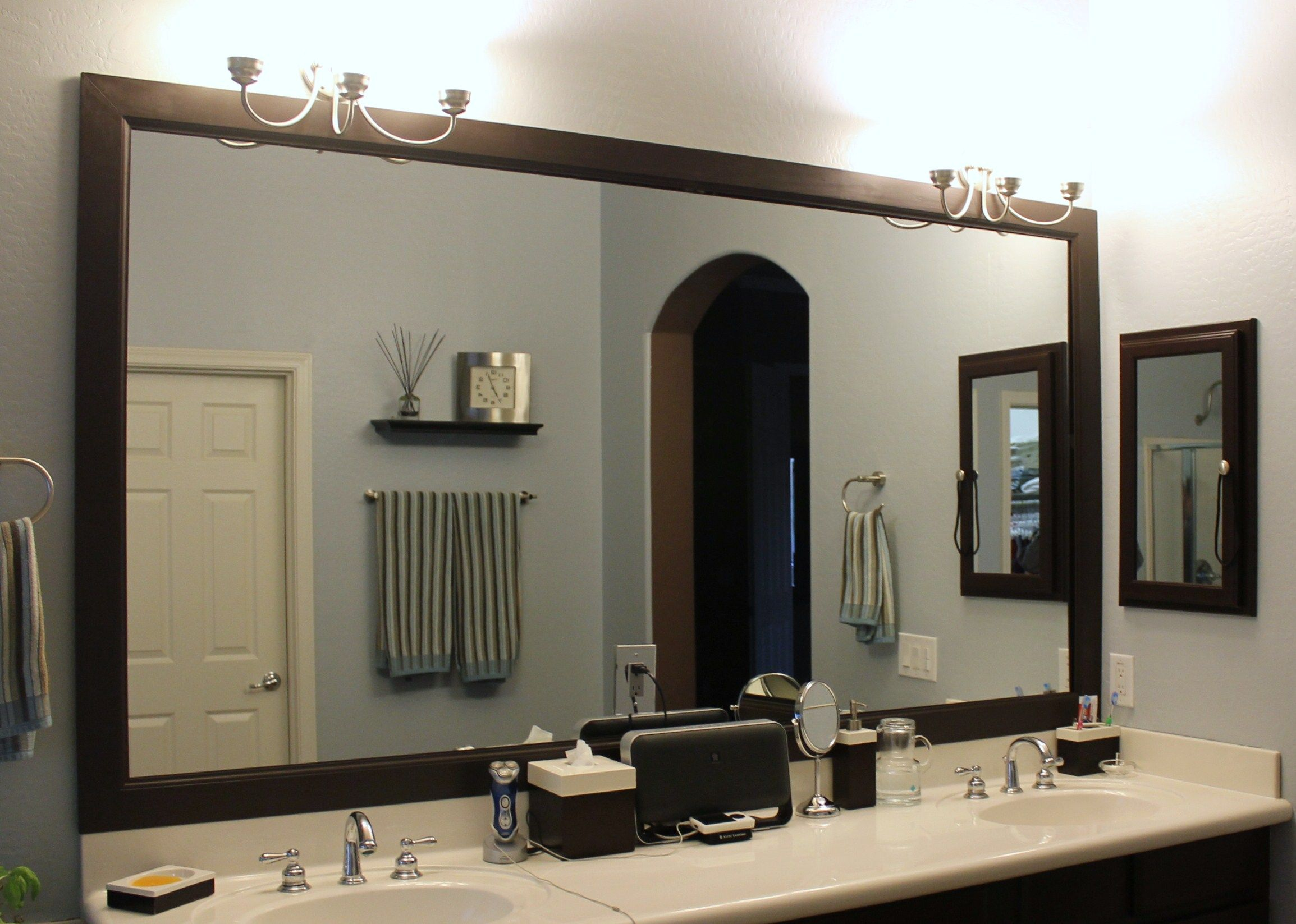 How To Frame A Large Bathroom Mirror Diy Bathroom Mirror Frame Bathroom Ideas Pinterest