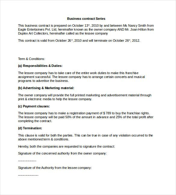 Sample Business Contract Template Word Format , 23+ Simple - simple contract template