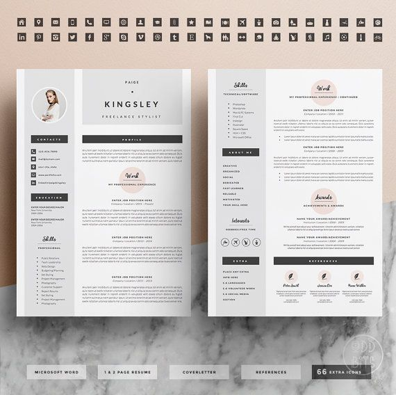 Business infographic  Professional Resume Template for Word 1 \ 2 - 2 page resume template