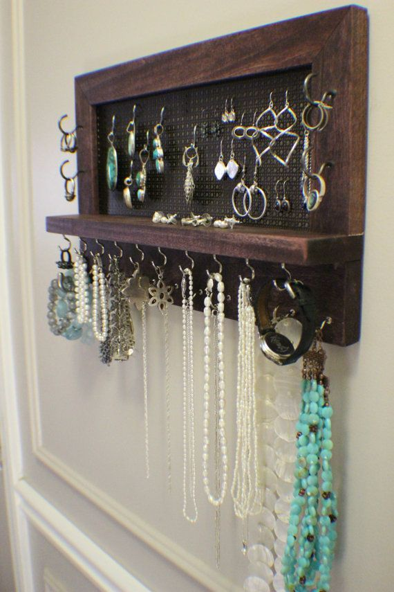 Cherry Stained Wall Mounted Jewelry Organizer, Wall