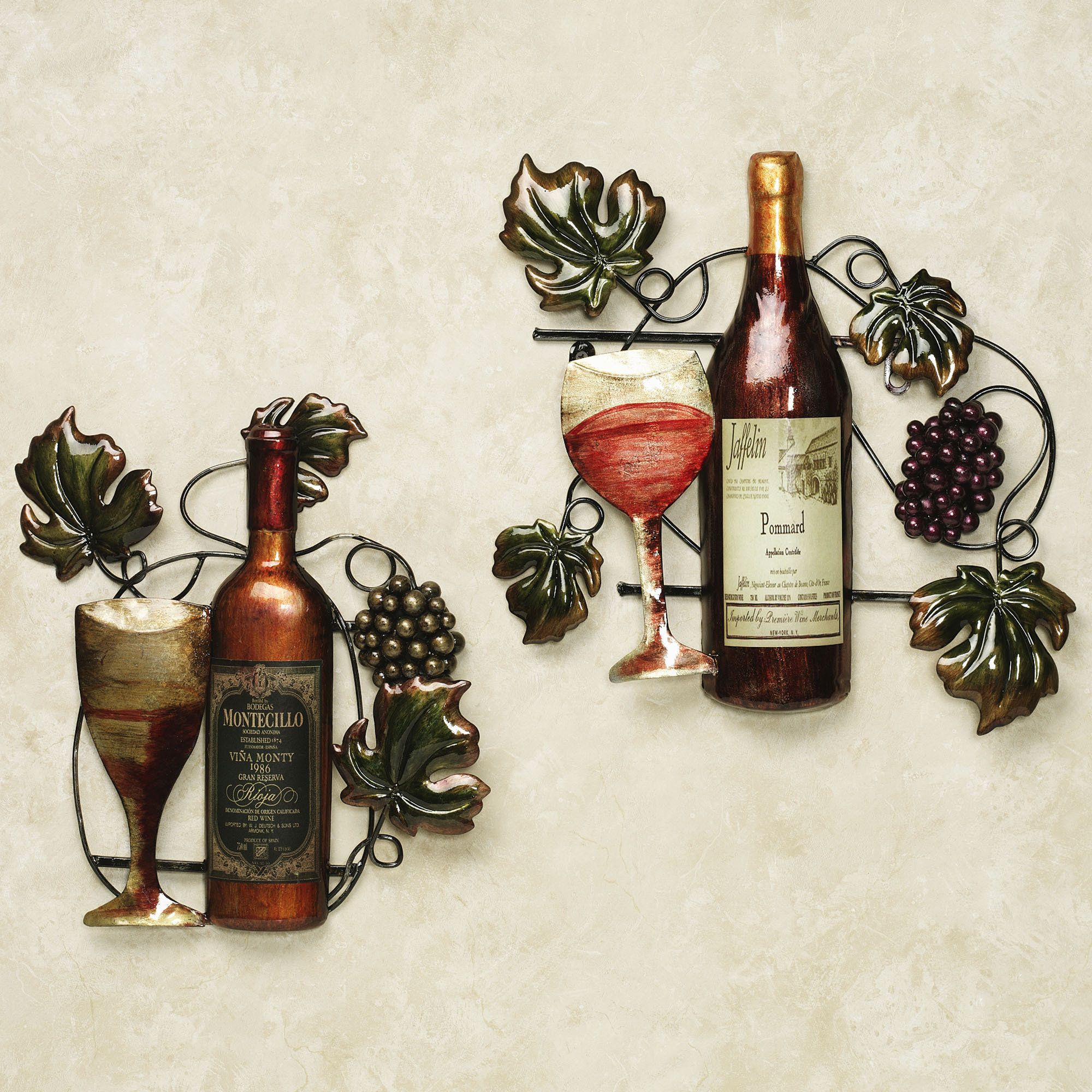 Metal wall decor for kitchen - Grape Kitchen Decor Sets Wine Bottle Metal Wall Decor Set From Touch Of Class Wine Download