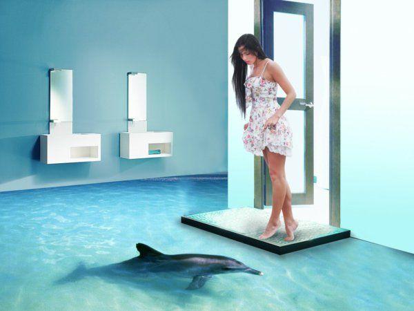 epoxidharz badezimmer 3d bodenbelag delfin 3D Fußboden - 3d badezimmerboden