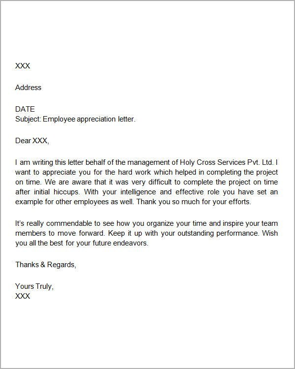 thank you letters for appreciation download free documents pdf - employee thank you letter