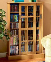 Wooden Blu-Ray DVD CD Storage Cabinet Rack Shelf Glass ...